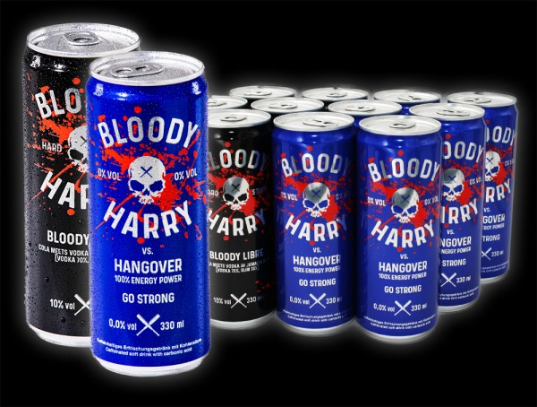 Mixed-Set: vs HANGOVER Energy 6x 0,33l + BLOODY LIBRE 6x 0,33l (10%vol) = 12 Dosen